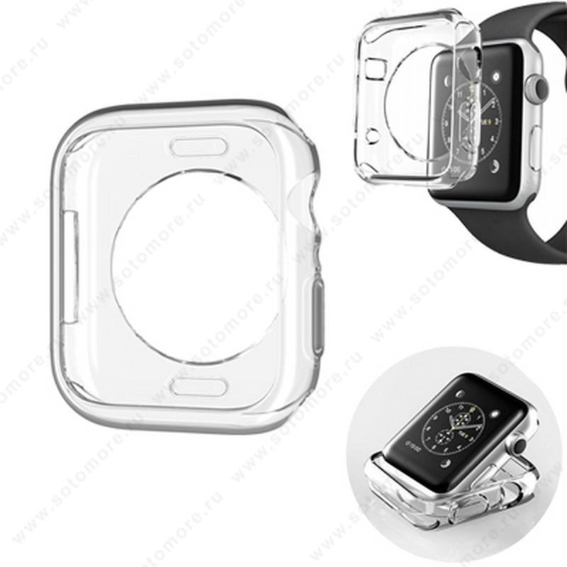 Накладка силиконовая для Apple Watch 42 mm прозрачная
