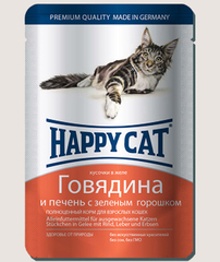 Пауч для кошек Happy Cat говядина с печенью и горохом в желе