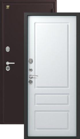 Сейф-дверь входная Зевс Z-6 NEW, 2 замка, 2 мм  металл, (шёлк бордо+софт белый)