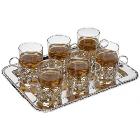 Набор из 6 стаканов с подстаканниками на подносе