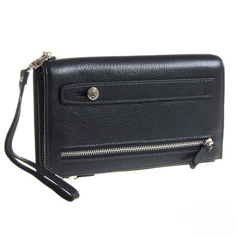 Мужской чёрный клатч портмоне из натуральной кожи GALIB 7M229