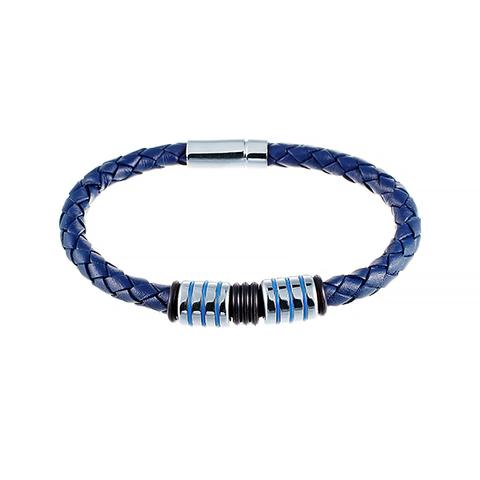 Стильный плетёный синий кожаный браслет со стальными шармами и магнитным замком JV 232-0117 в подарочной упаковке
