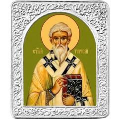 Святой Тарасий. Маленькая икона в серебряной раме.