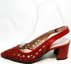 Летние женские туфли с острым носком на толстом каблуке G.U.E.R.O G067-TN Red.