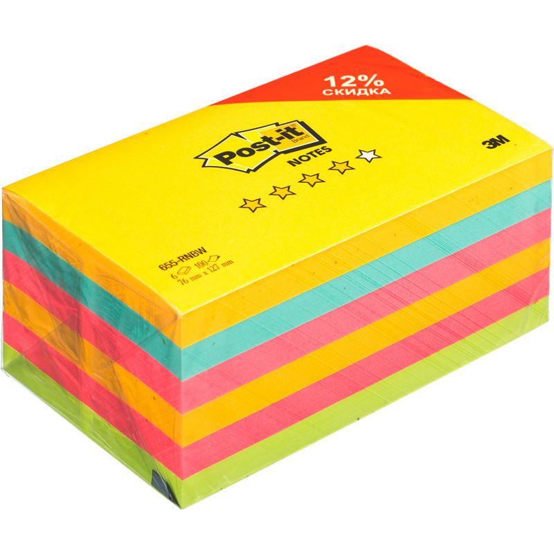 Стикеры Post-it 655-RNBW радуга плюс  76х127, 4 цвета, 6 бл.х100 л.