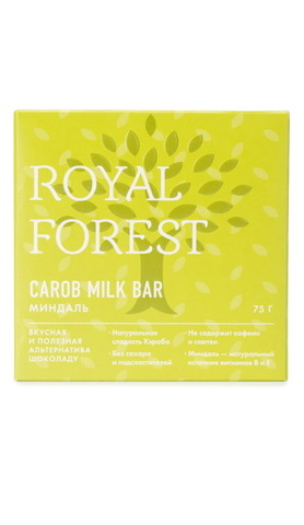 Шоколад из кэроба с миндалем 75 г, Royal-forest