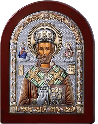 Серебряная икона Николая Чудотворца (цветной лак, повышенное качество!)