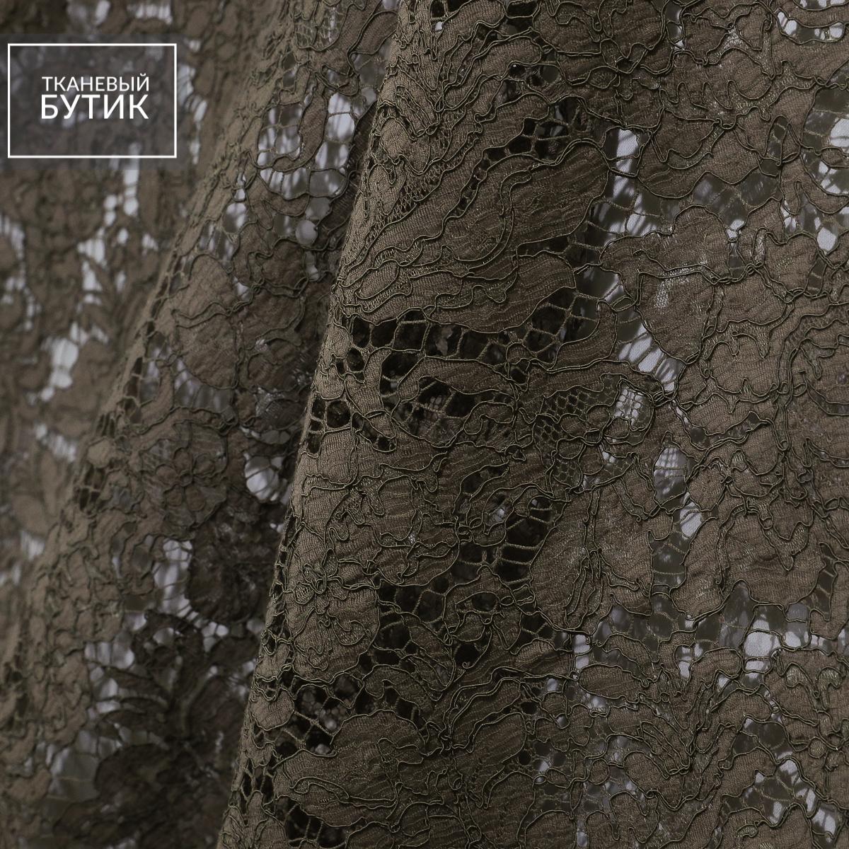 Французское кордовое кружево приглушенно коричневого цвета