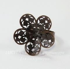 Основа для кольца с филигранным цветком 24 мм (цвет - античная медь)