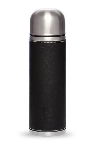 Термос Арктика (1 литр) с узким горлом, черный, кожаная вставка
