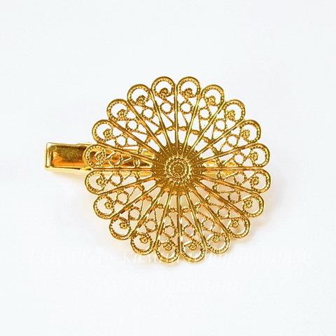 Основа для заколки 45х38 мм с филигранью (цвет - золото)
