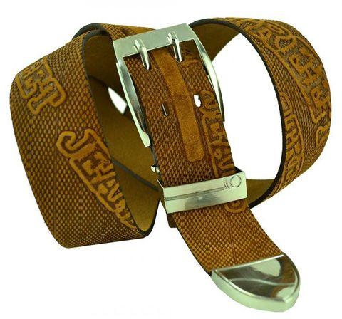Ремень мужской из натуральной кожи рыжий 40 мм для джинсов Legend 40legend-024