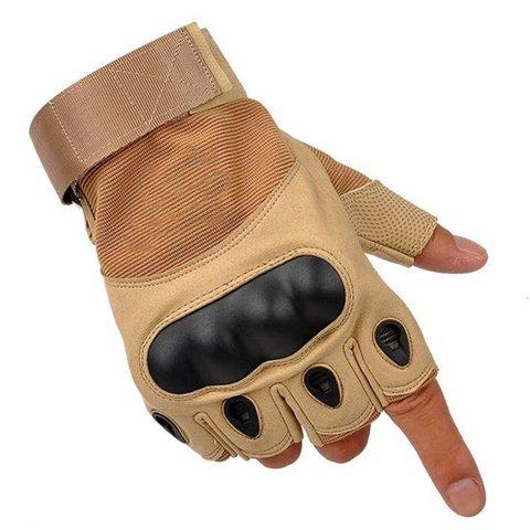Тактические перчатки беспалые Песок