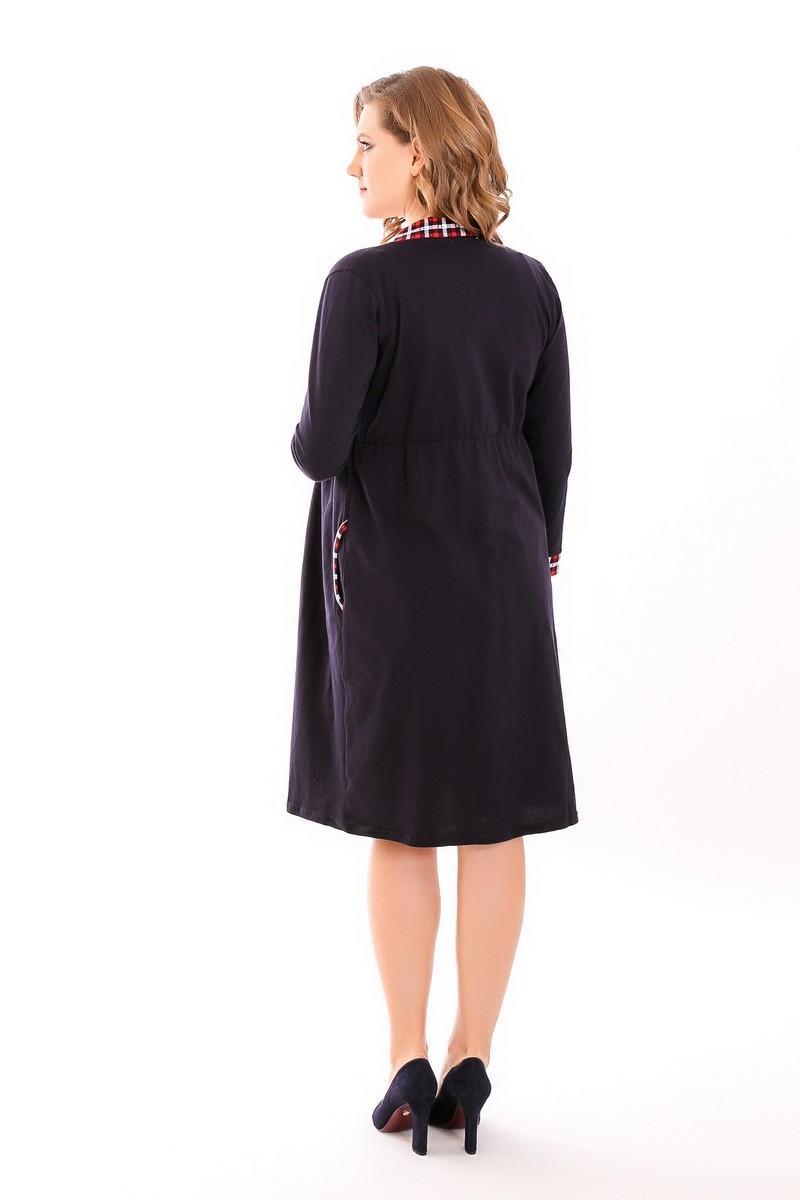 Комплект для беременных и кормящих с халатом и сорочкой 09278 темно-синий