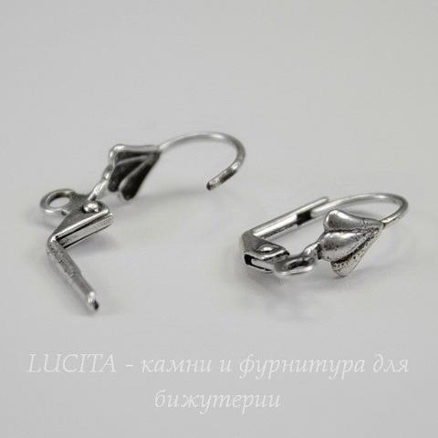 "Винтажные швензы с французским замком ""Ракушка"" 18 мм (оксид серебра)"