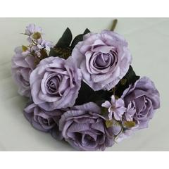 Розы искусственные евро с цветочной добавкой, букет 6 голов+добавка, 46 см.