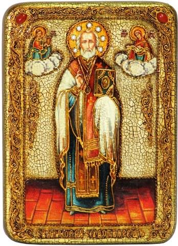 Инкрустированная икона Святитель Николай, архиепископ Мир Ликийский (Мирликийский), Чудотворец 29х21см на натуральном дереве в подарочной коробке