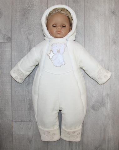 Комбинезон велюровый утепленный для новорожденного Teddy молочный