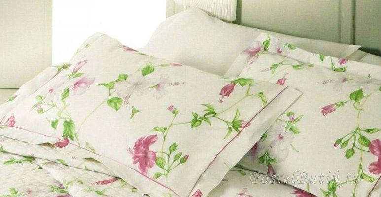 Постельное белье семейное Mirabello Hibiscus кремовое с розовыми цветами