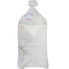 Папитто. Конверт-одеяло вязаный полушерстяной с подкладкой велсофт, экрю