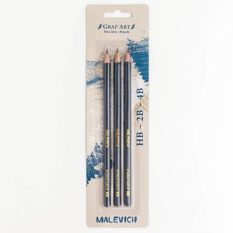 Набор чернографитных карандашей Малевичъ Graf'Art, 3 шт