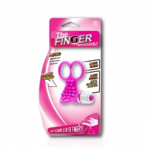 Розовая вибронасадка на пальцы (10 режимов вибрации)