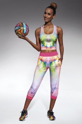 Укороченные легинсы для фитнеса разноцветные 200 den