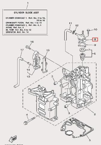 Крышка термостата для лодочного мотора F9,9 Sea-PRO (2-8)