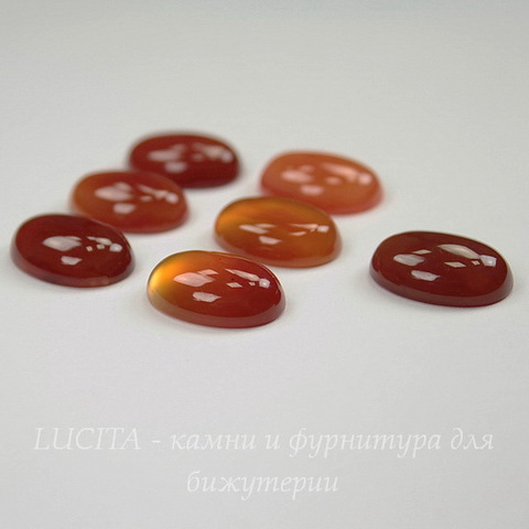 Кабошон овальный Агат красный 18х13х6 мм