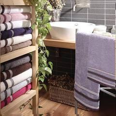Набор полотенец 2 шт Vingi Ricami Fashion с розово-фиолетовым кантом белый