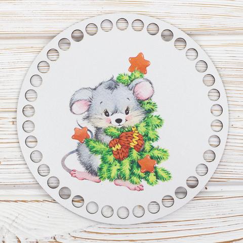 """Круглая заготовка с рисунком """"Новогодняя мышка 2"""" 15см из ХДФ"""