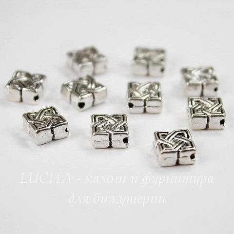 """Бусина металлическая """"Узел"""" 10х9 мм (цвет - античное серебро), 10 штук"""