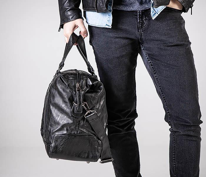 BAG543 Крупная дорожная сумка из кожи черного цвета фото 02