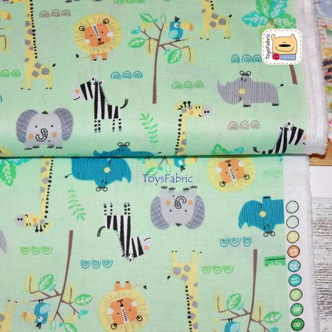 Ткань для пэчворка 20953 (звери джунглей на мятном) 45х55см