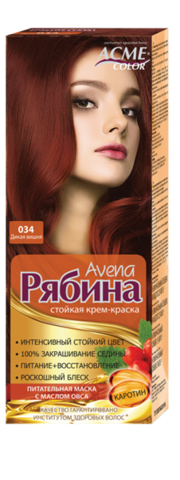 Рябина Avena Крем-краска для волос тон №034 дикая вишня