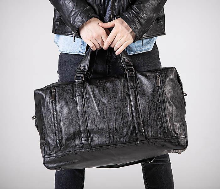 BAG543 Крупная дорожная сумка из кожи черного цвета фото 04