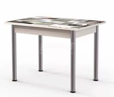 Стол обеденный раздвижной Гранд 11К стеклянный прямоугольный с фотопечатью кофе
