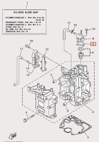 Прокладка термостата для лодочного мотора F9,9 Sea-PRO (2-9)