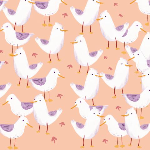 Смешные птички на бежевом