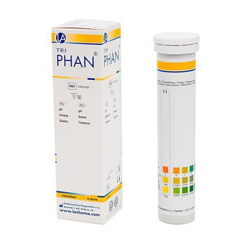 Тест-полоски визуальные Трифан (Triphan) №5  белок, pH, глюкоза