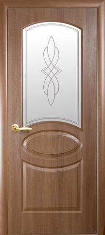 Дверь Фортис R овал ДО (золотая ольха, остекленная ПВХ), фабрика Новый Стиль