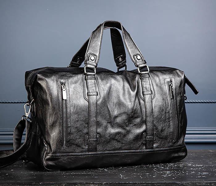 BAG543 Крупная дорожная сумка из кожи черного цвета фото 06