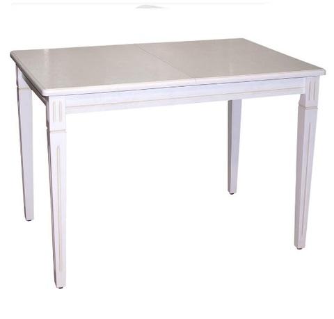 Стол обеденный Дарсон деревянный белый с патиной и каннелюром