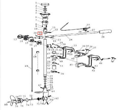 Кронштейн румпеля для лодочного мотора T3,5 Sea-PRO