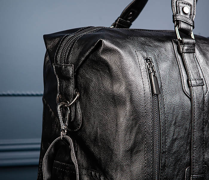 BAG543 Крупная дорожная сумка из кожи черного цвета фото 07