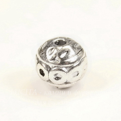 Бусина металлическая круглая с узором 8 мм (цвет - античное серебро)