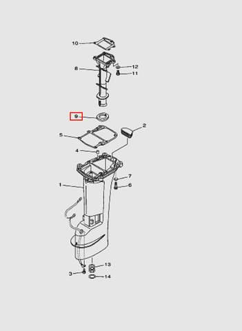 Прокладка выпуска дейдвуда  для лодочного мотора T15, OTH 9,9 SEA-PRO (15-9)