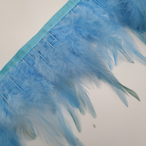 Тесьма  из перьев петуха h- 8-10см., голубой