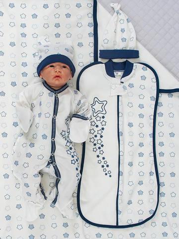 Набор одежды для новорожденного в роддом Звезды синий