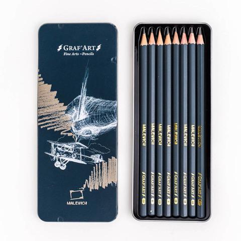 Набор чернографитных карандашей Малевичъ Graf'Art, металлическая коробка, 8 шт